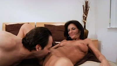 Moist mom sits down on cock..