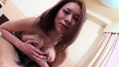 Asian chick plays with a..