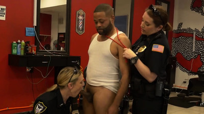 Milf cops enter barbershop..