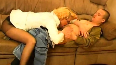 Blonde old mature swallows..