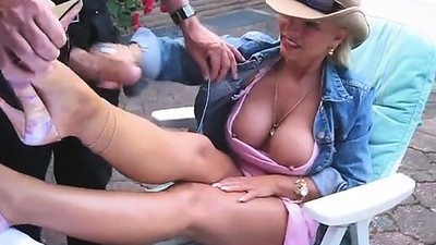 Busty hot mama jerks cock