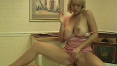 Hot Blonde Cougar Smoking..