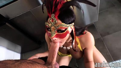 Busty latina in mask gets..