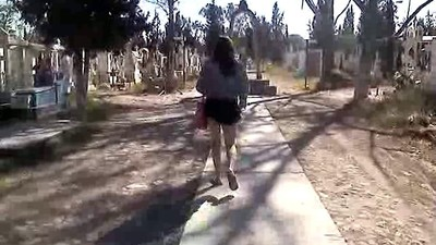 walking through the cemetery