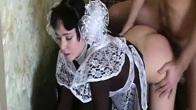 Innocent maid gets her mouth..