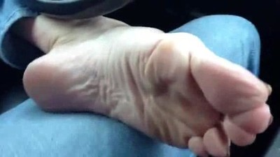 teacher mature feet in car