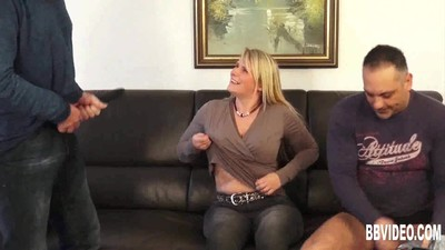 Busty german milf takes two..