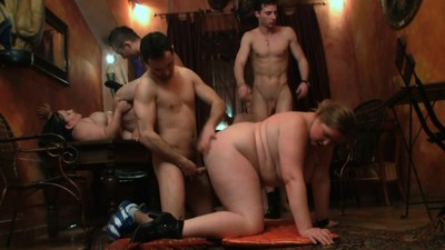 Hot gangbang party with..