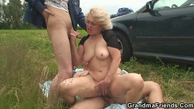Blonde granny has threesome..