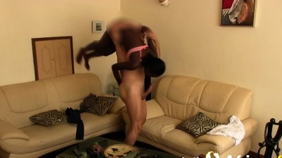 Skinny ebony teen gets..
