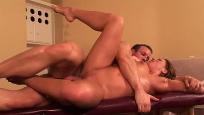 Oiled babe makes a guy cum