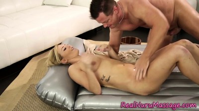 Nuru masseuse gets cum