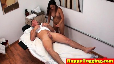 Busty asian masseuse sucking..