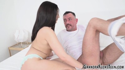 Teenager blowing gramps
