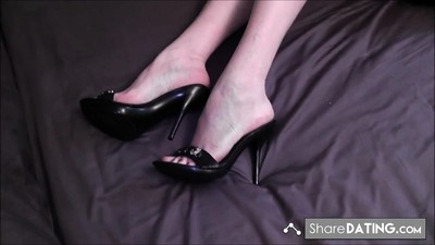 Foot fetish shoejob mules