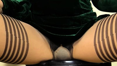 Lady strips her Nylons